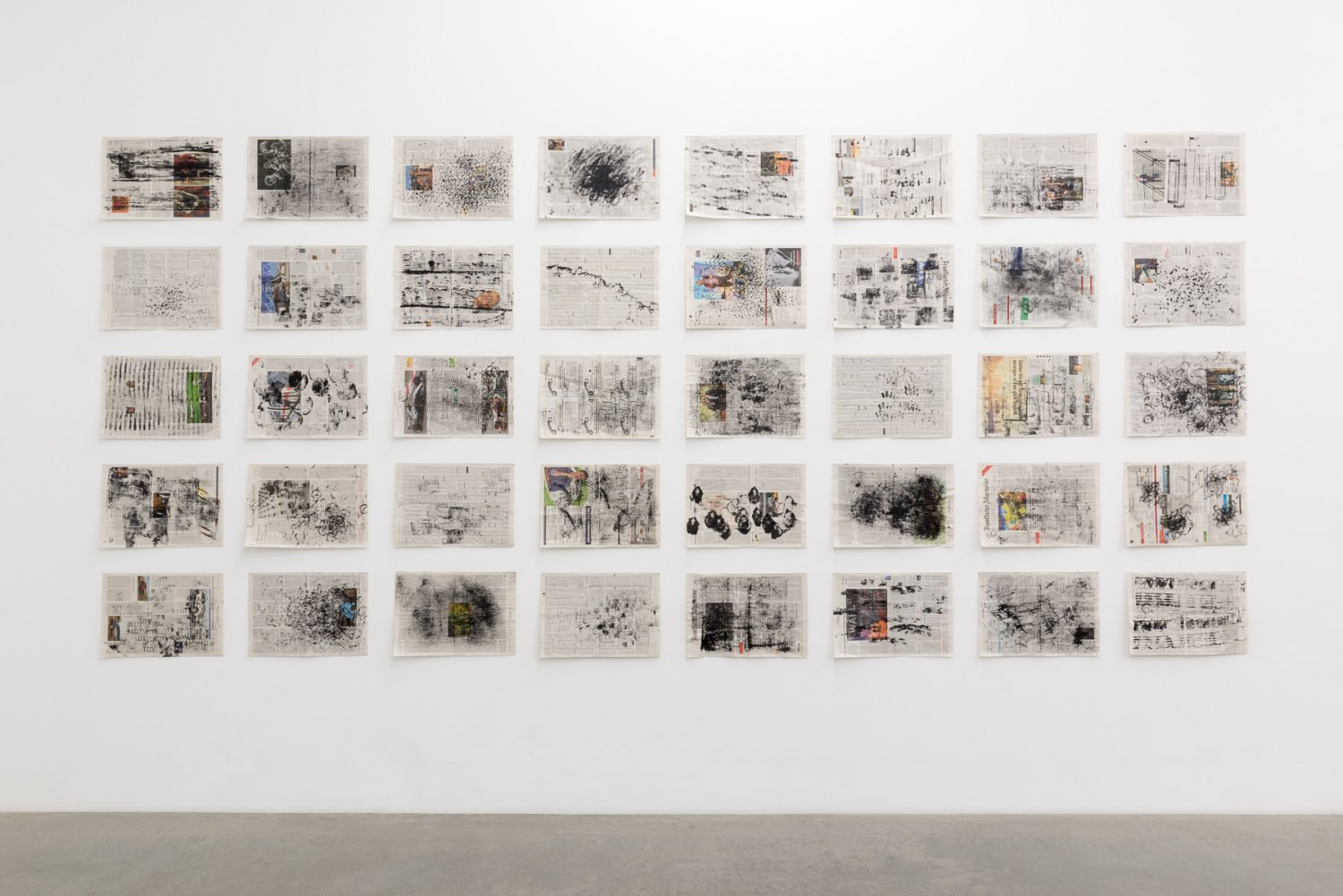 Kirsten Pieroth Abrasives, 2017 Newspaper pages, paint 250 x 540