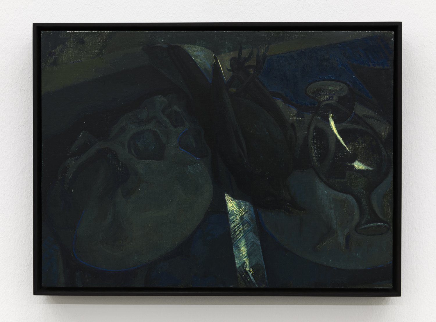 Victor Man  Two Skulls After El Greco and Blackbird, 2017 Oil on canvas mounted on wood 30 x 41 cm