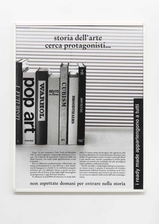 Philippe Thomas Pubblicità, pubblicità,1988 Black & white photograph 57 x 123 x 4 cm