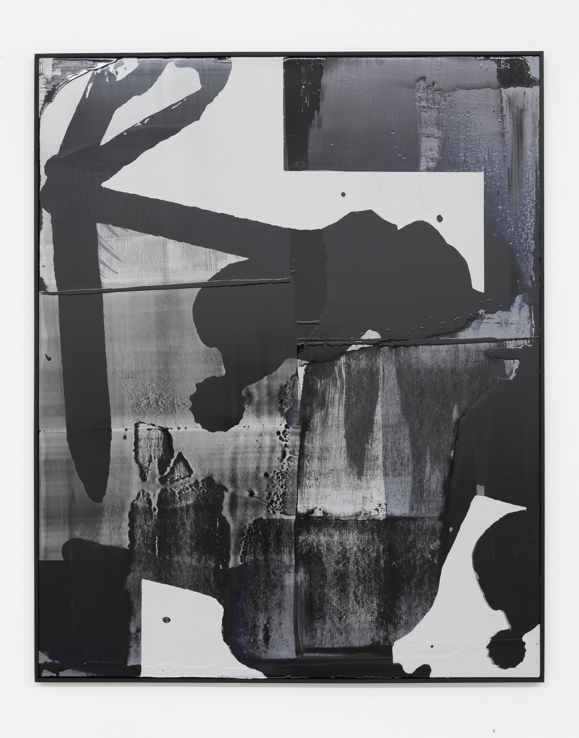 Alex Hubbard Untitled Charcoal Painting (Geburtskanal), 2018 Aluminium panel, acrylic, pigmented urethane, charcoal, resin on linen 216,5 x 175,5 x 4 cm