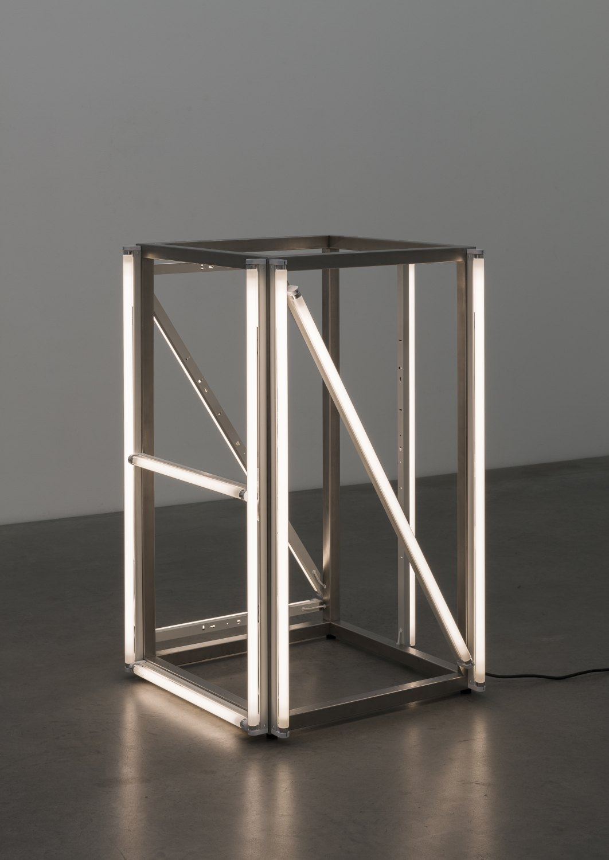 KarlHolmqvist Untitled (NAZI), 2016 Steel, fluorescent tubes, 120 x 73 x 73 cm