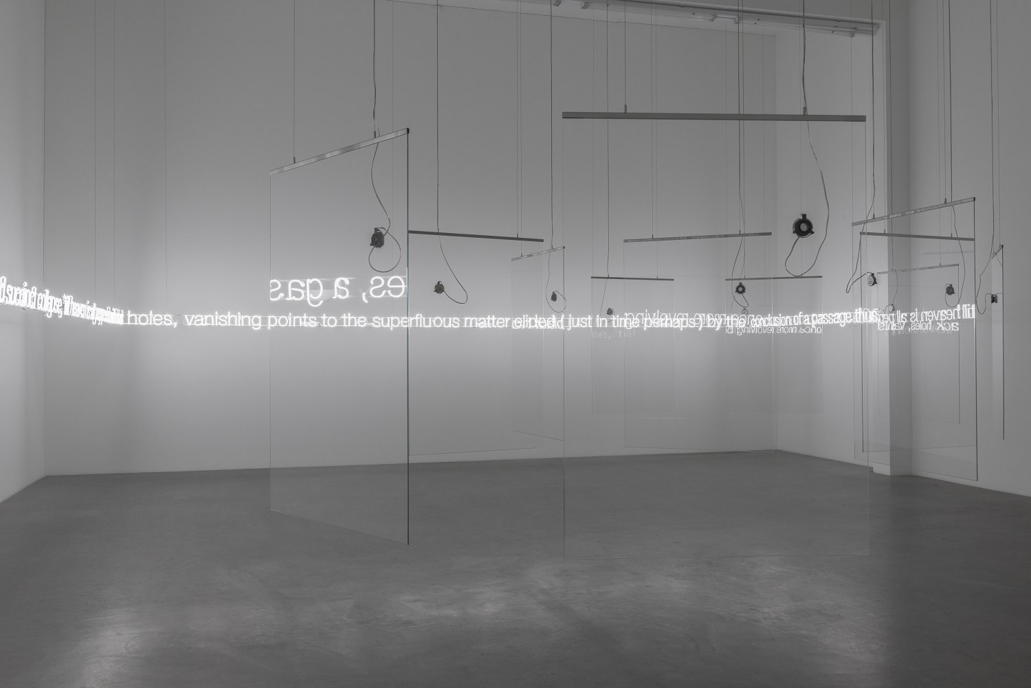 Cerith Wyn Evans 'E=L=A=P=S=E' in Glass with sound, 2016 11 pieces toughened low iron glass, 5 channel audio, 11 speakers, 3 amplifiers, 1 WavePlayer8, clear audio wire, 1mm stainless steel cable 196 x 520 x 470 cm