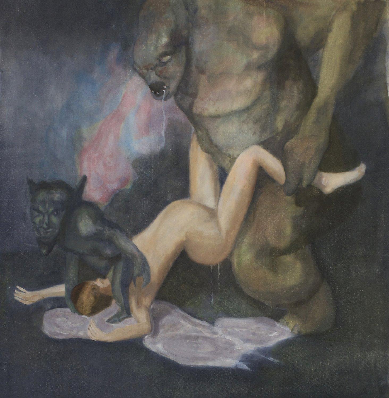 Jill Mulleady Origines cultuelles et mythiques d'un certain comportement des dames romaines, 2015 Oil on canvas, 44 x 41 cm