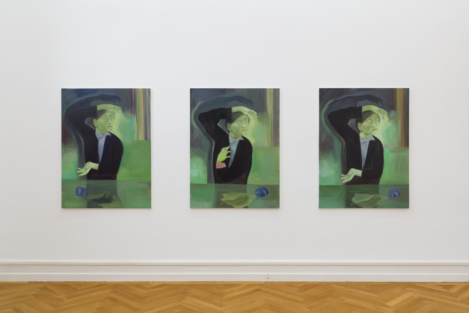 Jill Mulleady The Green Room I & II, 2017 Oil on canvas, 122 x 91 cm each Angst vor Angst Installation view, Kunsthalle Bern