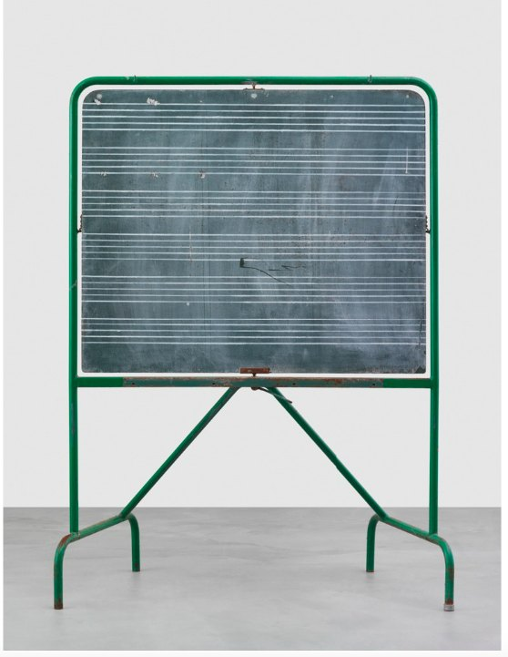 Matias Faldbakken Blackboard (Punk Curtains), 2016 Blackboard, Lascaux UV-glue, 11 prints on newsprint, 184.5 × 136 × 67 cm