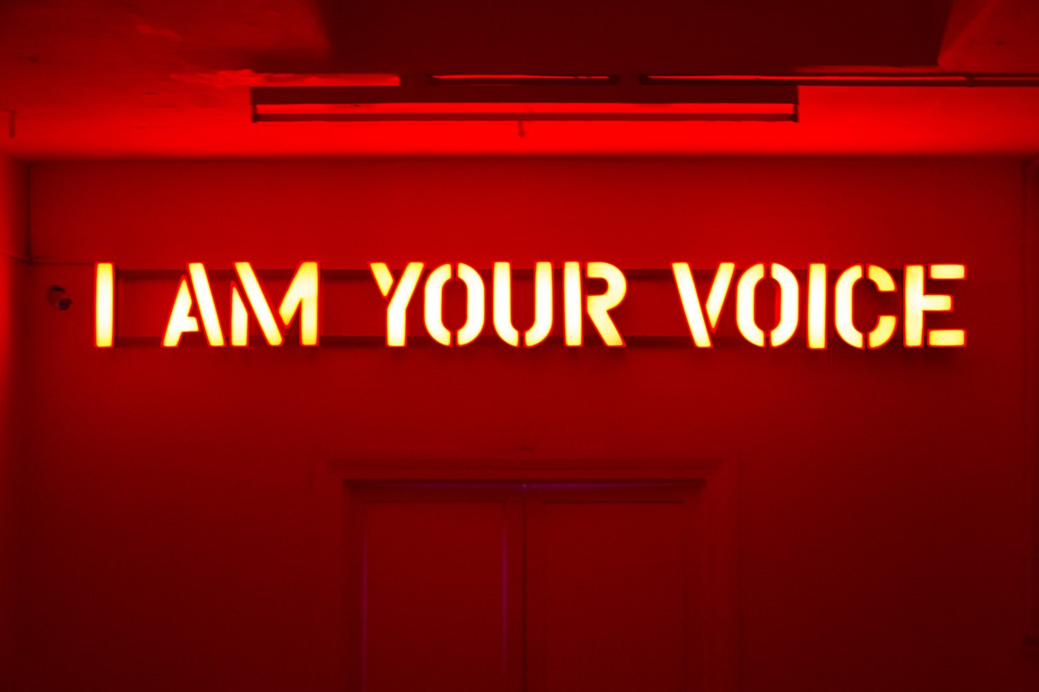 Claire Fontaine  Untitled (I am your voice), 2016 Wall mounted LED constructed letters, 31 x 0.31 x 6 cm