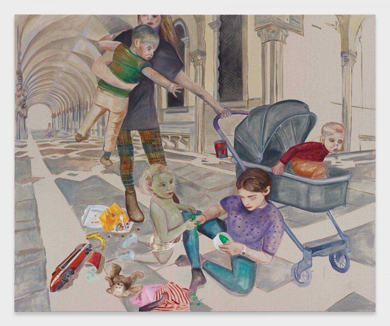 Jill Mulleady Kids with Slime, 2019 Oil on linen, 165 x 200 cm