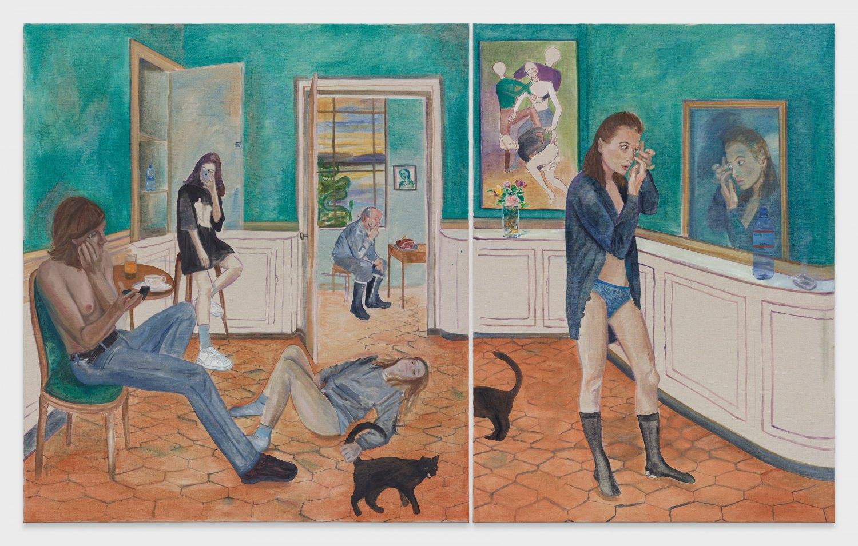 Jill Mulleady Interior, 2019 Oil on linen, 168 x 152 cm (left panel), 168 x 120 cm (right panel)