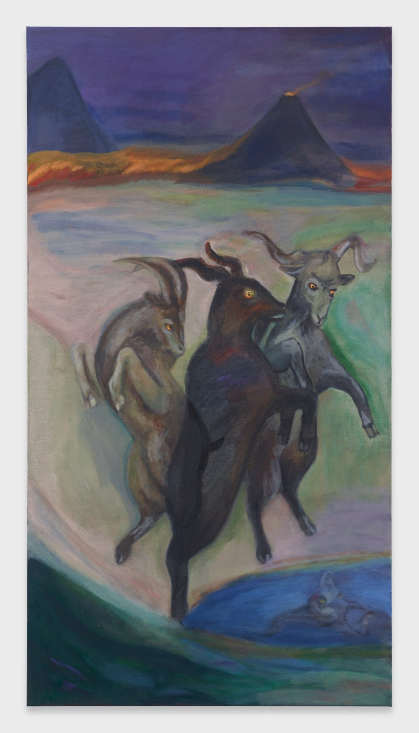 Jill Mulleady Exterior with Goats, 2019 Oil on linen, 168 x 90 cm
