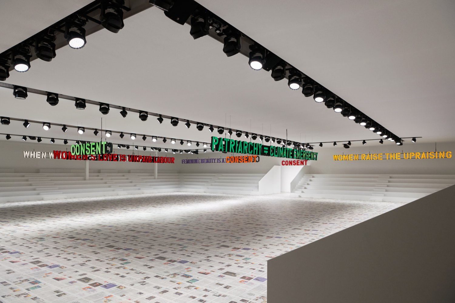 Claire Fontaine Installation view for Dior Show in Paris, Fall/Winter,  2020/2021