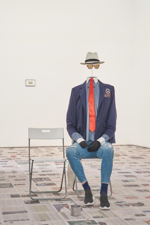 Claire Fontaine Headless Man, 2016 Mannequin, hat, sunglasses, shirt, suit jacket, tie, gloves, jeans, socks, shoes, padding, wire
