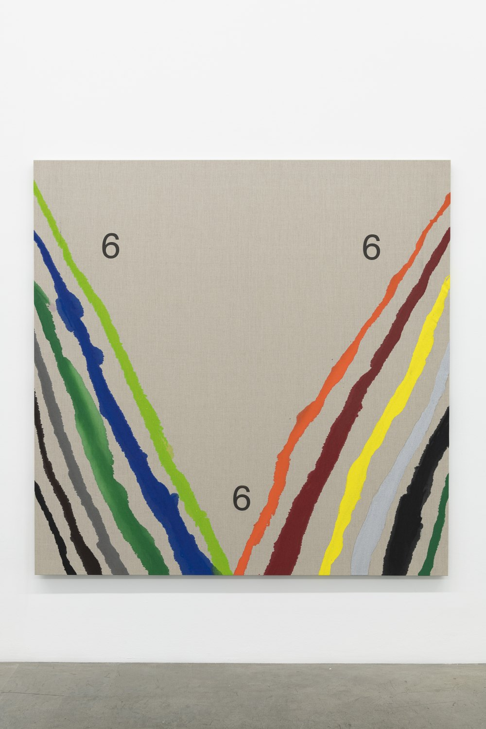 Karl Holmqvist Untitled (6,6 and 6 Pouredpainting), 2021 High flow acrylics on raw canvas 183 x 183 cm
