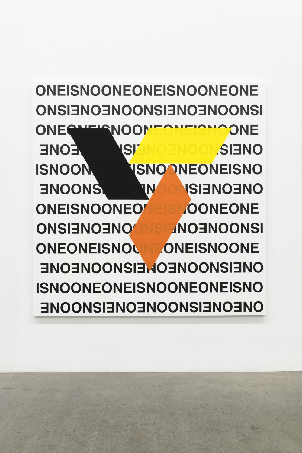 Karl Holmqvist Untitled (Geometric Abstraction ONEISNOONE), 2016-2021 UV digital print and high flow acrylics on canvas 180 x 180 cm