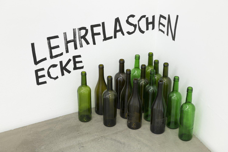 Karl Holmqvist Untitled (LEHRFLASCHENECKE), 2021 Empty bottles, Magic marker on wall dimensions variable