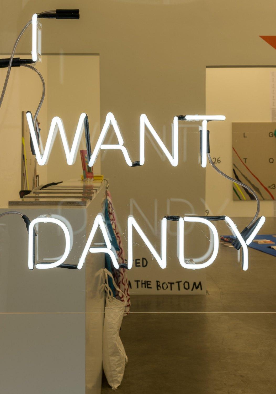 Karl Holmqvist I WANT DANDY, 2012 neon, perspex 79 x 81 x 5 cm