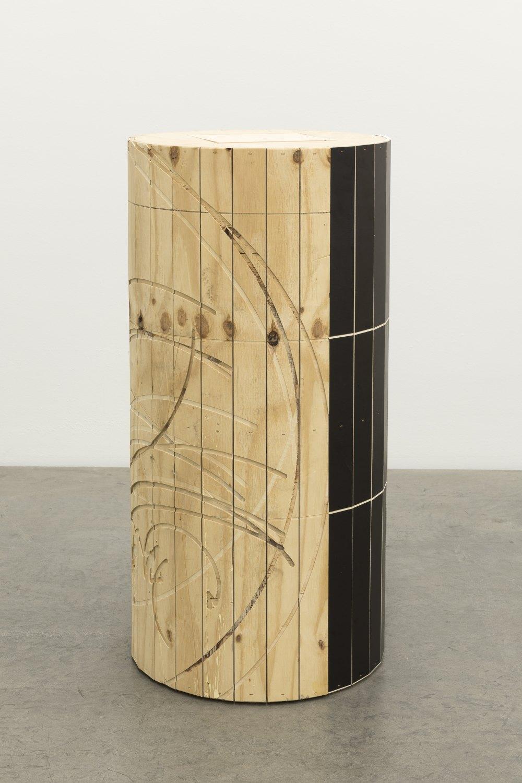 Manfred Pernice Tristan, 2021 Wood, color varnsih h = 98,⌀ = 49 cm