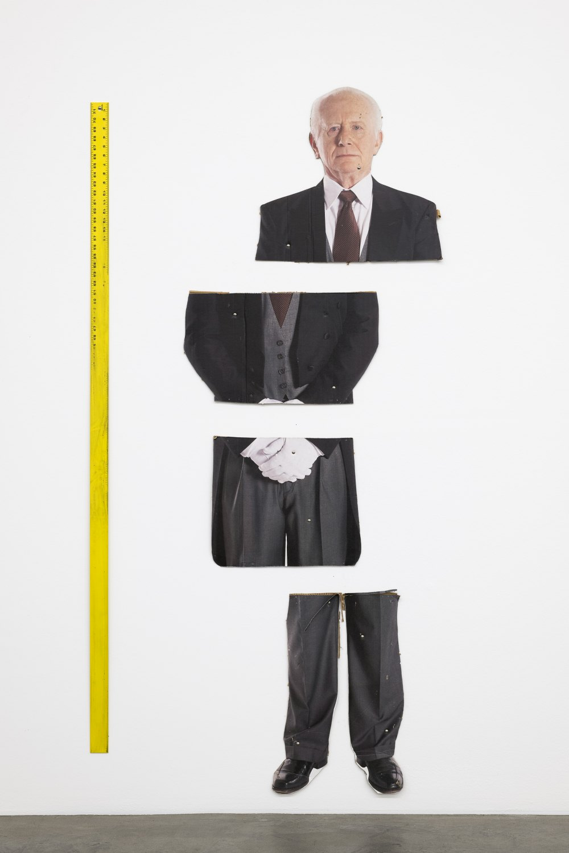 Win McCarthy Dinner for One, 2021 205 x 100 cm Screenprint on cardboard, aluminum ruler