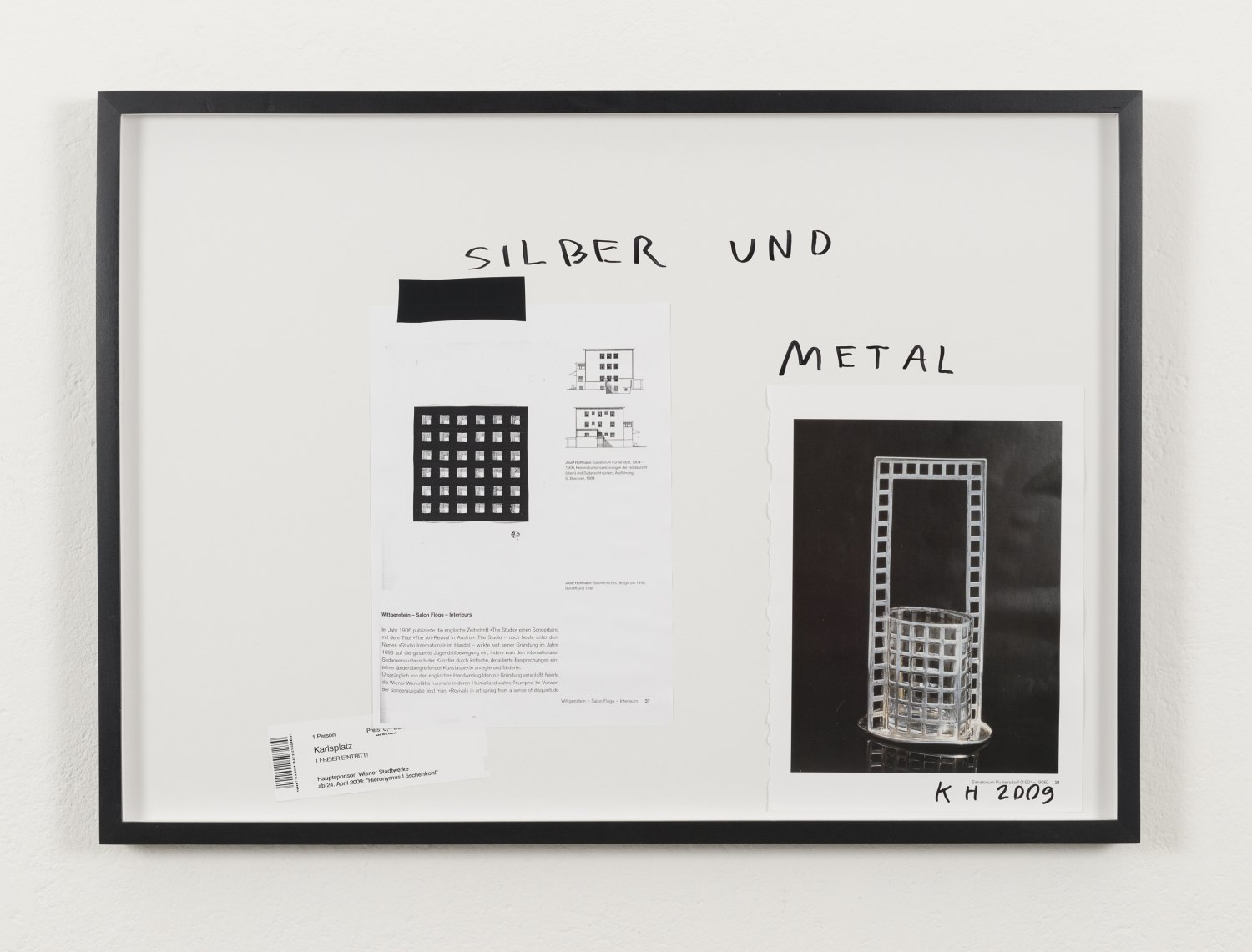 Karl Holmqvist Untitled (SILBER UND METAL), 2009 Framed collage, 52.5 × 72.5 × 4 cm