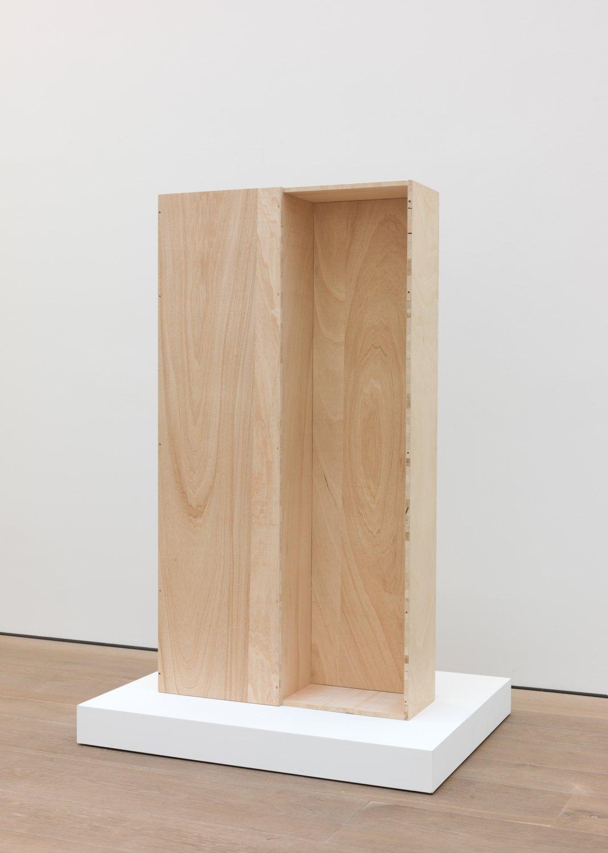 Andreas Slominski   Coffin Cadmium Red Medium, 2013    Wood, dispersion paint, 195.5 × 103.5 × 42 cm