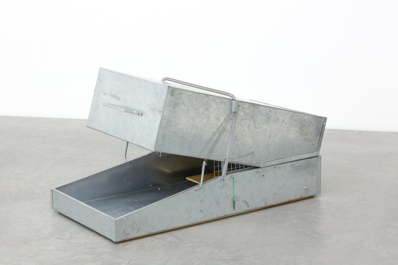Andreas Slominski Waschbärfalle, 2000 Wood, metal, cords, bait, 69 × 129 × 68 cm