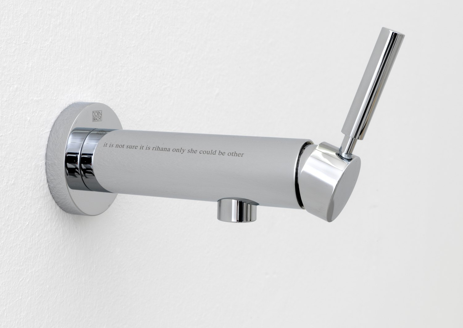 Bernadette Corporation only she could be other, 2010 Dornbracht TARA.LOGIC wall-mounted single-lever basin mixer with 1 sandblast etching and 1 hand engraving, 13 × 8 × 23 cm