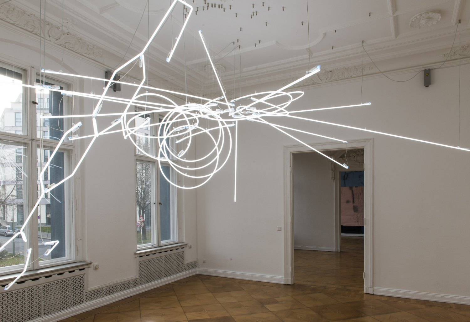 Cerith Wyn Evans    E=L=A=P=S=U=R=E (In Vitro), 2013    Neon, steel and cables,  318 × 362 × 635 cm