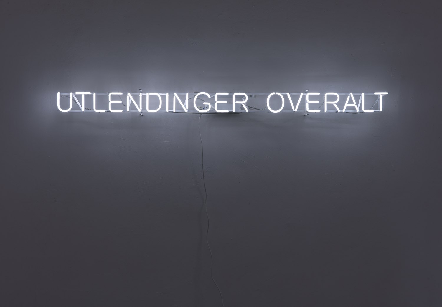 Claire Fontaine Foreigners everywhere (Norwegian), 2007 Suspended, wall or window mounted neon, framework, electronic transformer, cables, 9.8 × 163 × 4.5 cm