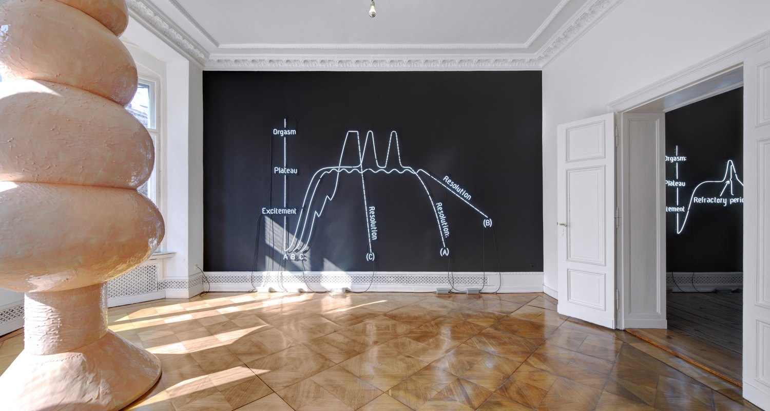 Claire Fontaine Orgasm Neon (Female), 2009 Black wall, white neon tube 6500k, cables, transformer, 300 × 400 cm