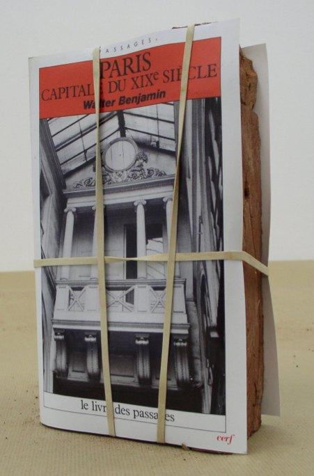Claire Fontaine Paris, capitale du XIXème siècle brickbat, 2007 Brickfragments and digital archival print with optional elastic band, 23.6 × 14.6 × 5.8 cm