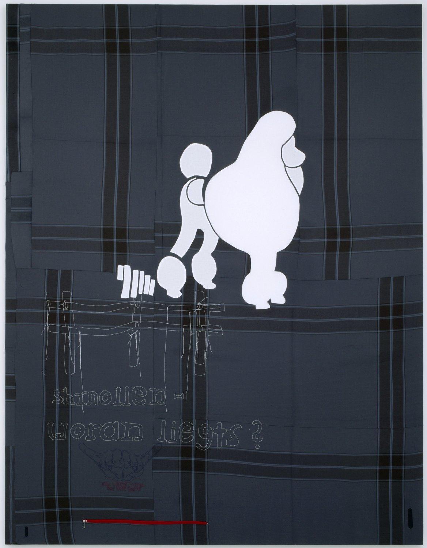 Cosima von Bonin   SCHMOLLEN - WORAN LIEGTS?, 2003    Loden, wool, cotton, steel, tape,  298 × 230 cm