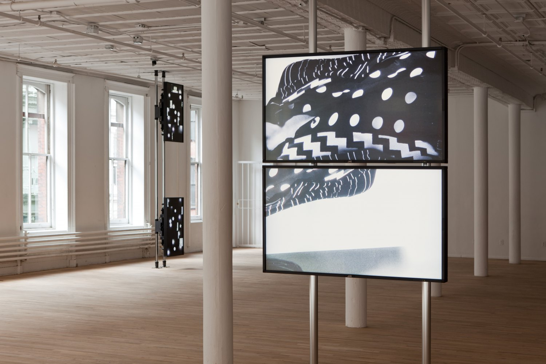 Hilary Lloyd Moon, 2001 (left), Shirt, 2011 (right) Installation view, Artists Space, New York 2011, photo Daniel Pérez