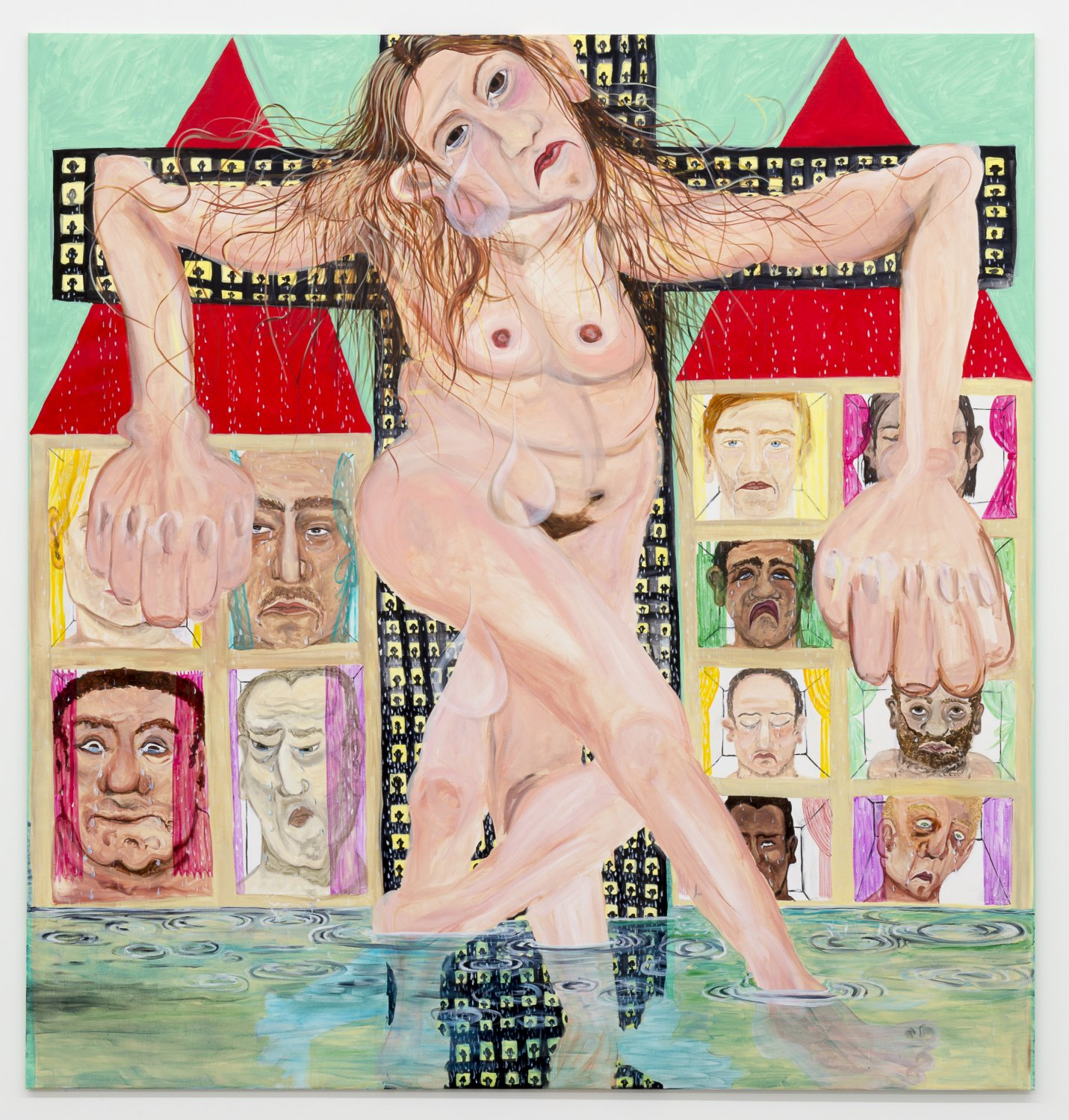 Jana Euler Female Jesus crying in public, 2015 Oil on canvas, 210 × 220 cm