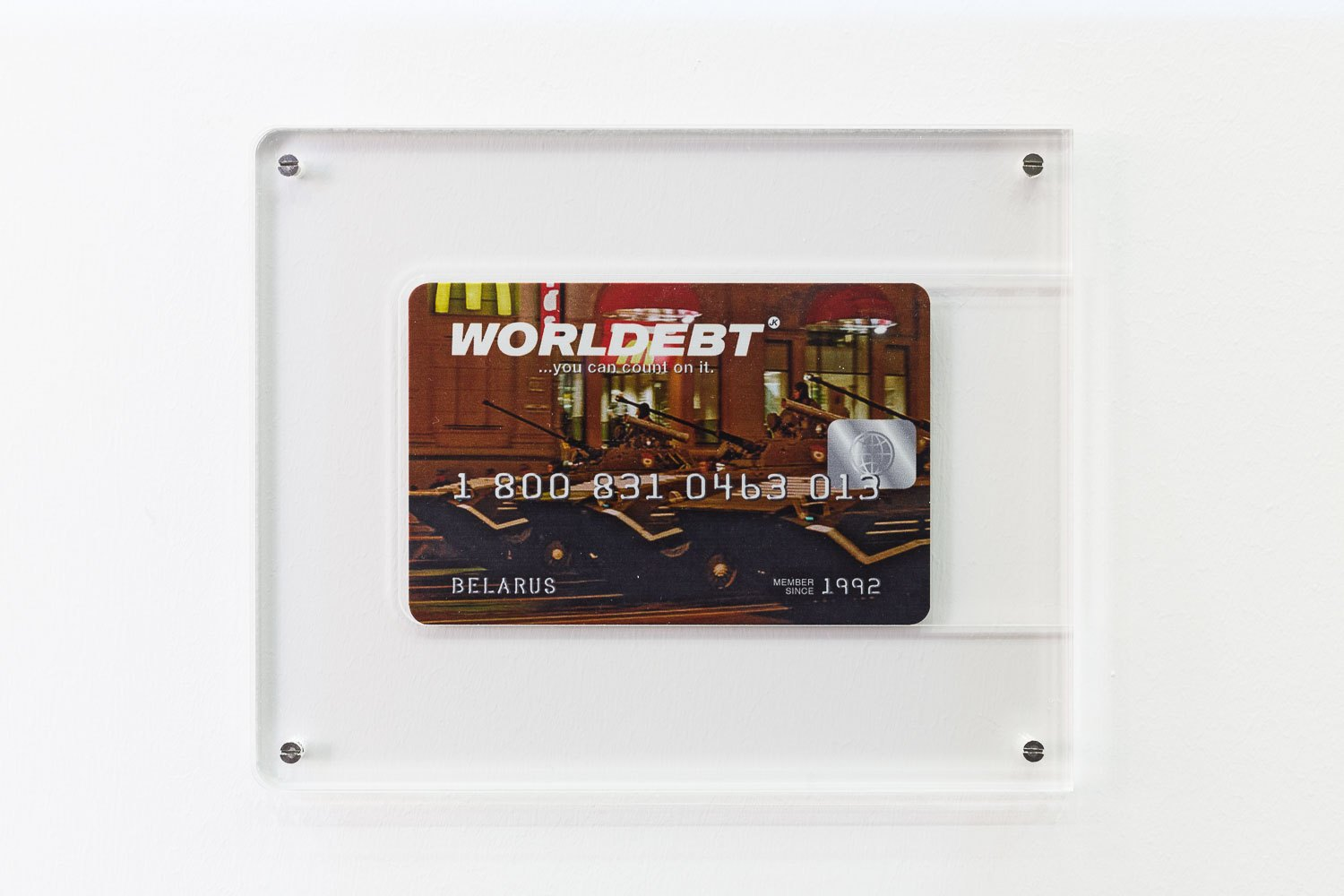 John Knight Worldebt, 1994/2015 Lithography on aluminum, 165 parts, 8 × 13 cm each (without frame)