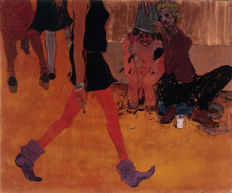 Kai Althoff Er will alles sehen, 2002 Watercolor, spar varnish, varnish, paper on canvas,50 × 60 × 4.5 cm