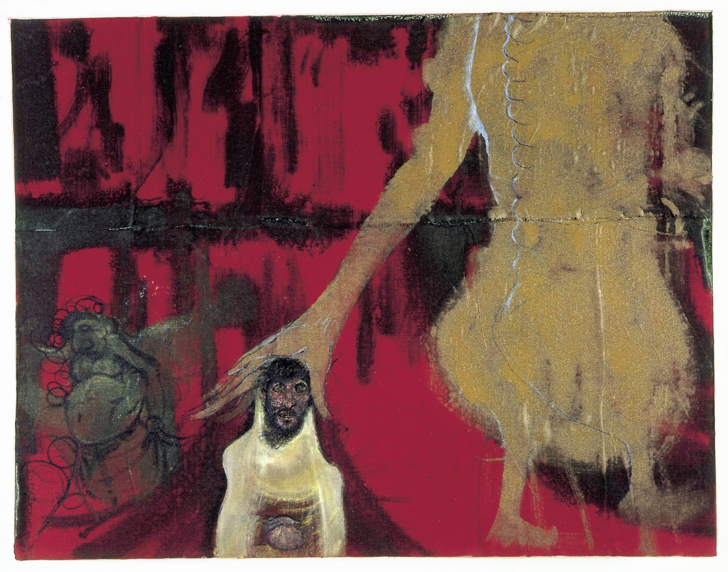 Kai Althoff Gott geht vorüber, 2002 Watercolor, spar varnish, varnish, fabric on canvas, 70 × 90 × 8 cm