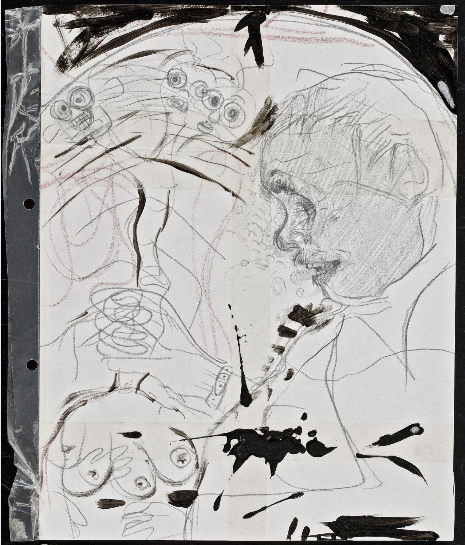 Kai Althoff Untitled, 2001 Varnish, wax crayon, pencil, tape on paper, 29.7 × 21 cm