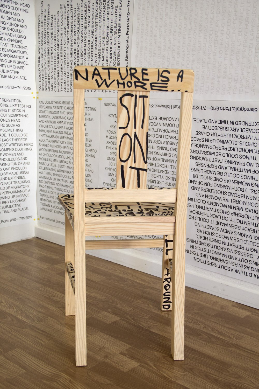 Karl Holmqvist Untitled, 2015 Magic marker on wooden chair, 87 × 44 × 42 cm