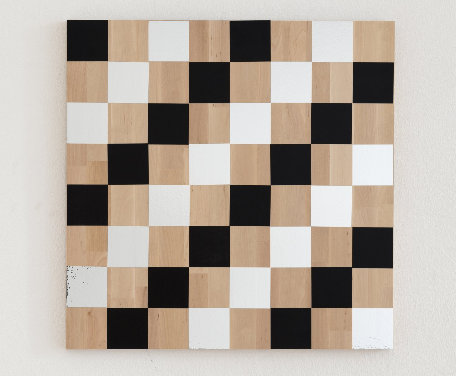 Karl Holmqvist Untitled (Checkerboard Painting Black and Silver), 2013 Vinyl and mirror foil on wood, 60 × 60 cm