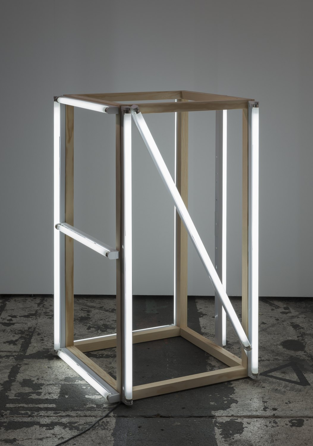 Karl Holmqvist Untitled (Four-letter word sculpture NICE), 2015 Wood, fluorescent tubes, 124 × 70 × 70 cm