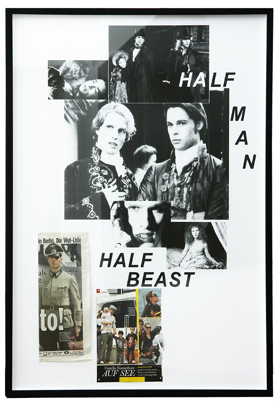Karl Holmqvist Untitled (HALF MAN HALF BEAST), 2009 Framed collage, 72.5 × 52.5 × 4 cm