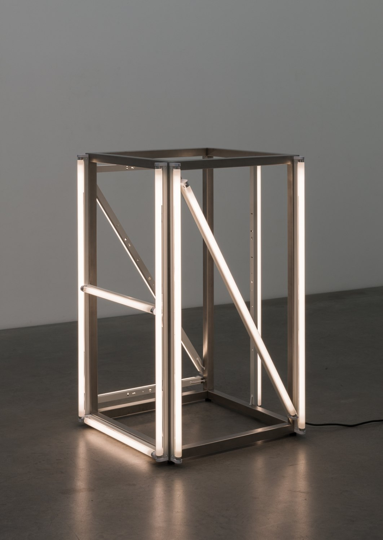 Karl Holmqvist Untitled (NAZI), 2016 Steel, fluorescent tubes, 120 × 73 × 73 cm
