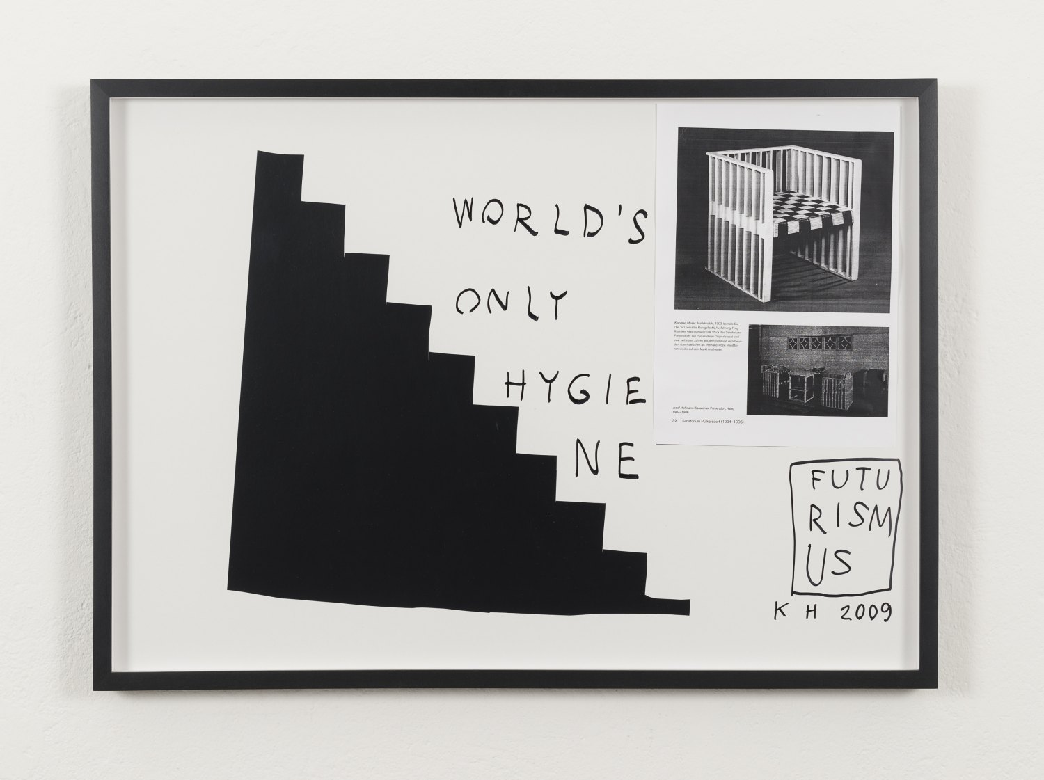 Karl Holmqvist Untitled (WORLD'S ONLY HYGIENE), 2009 Framed collage, 52.5 × 72.5 × 4 cm