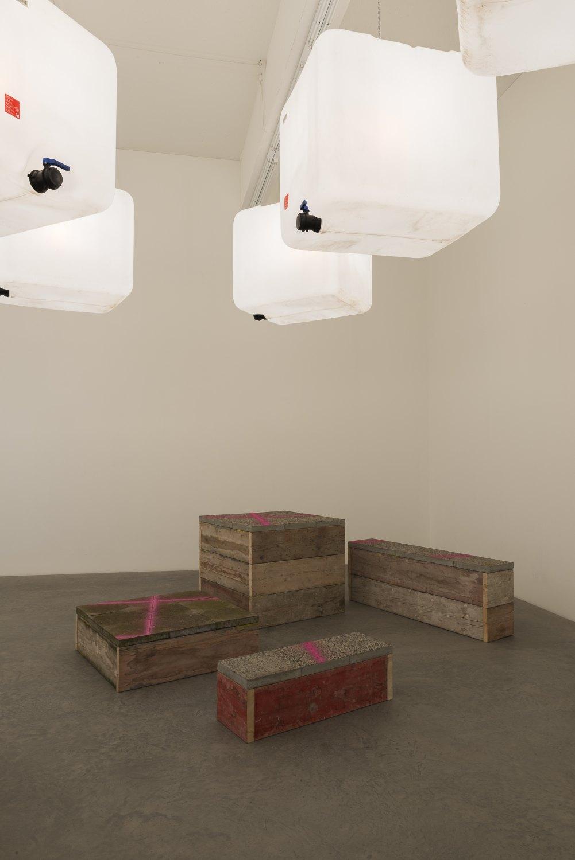 Klara Lidén Untitled, 2015 Wood, concrete, lamps, plastic, dimensions variable