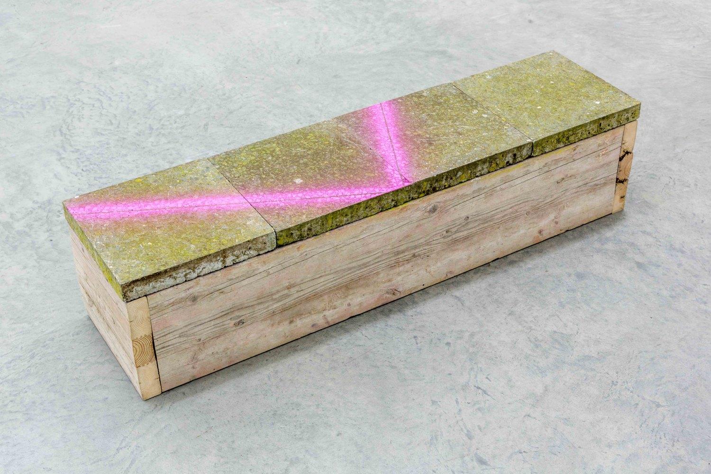 Klara Lidén  Untitled, 2015 Wood, concrete, 33.5 × 140.5 × 35 cm