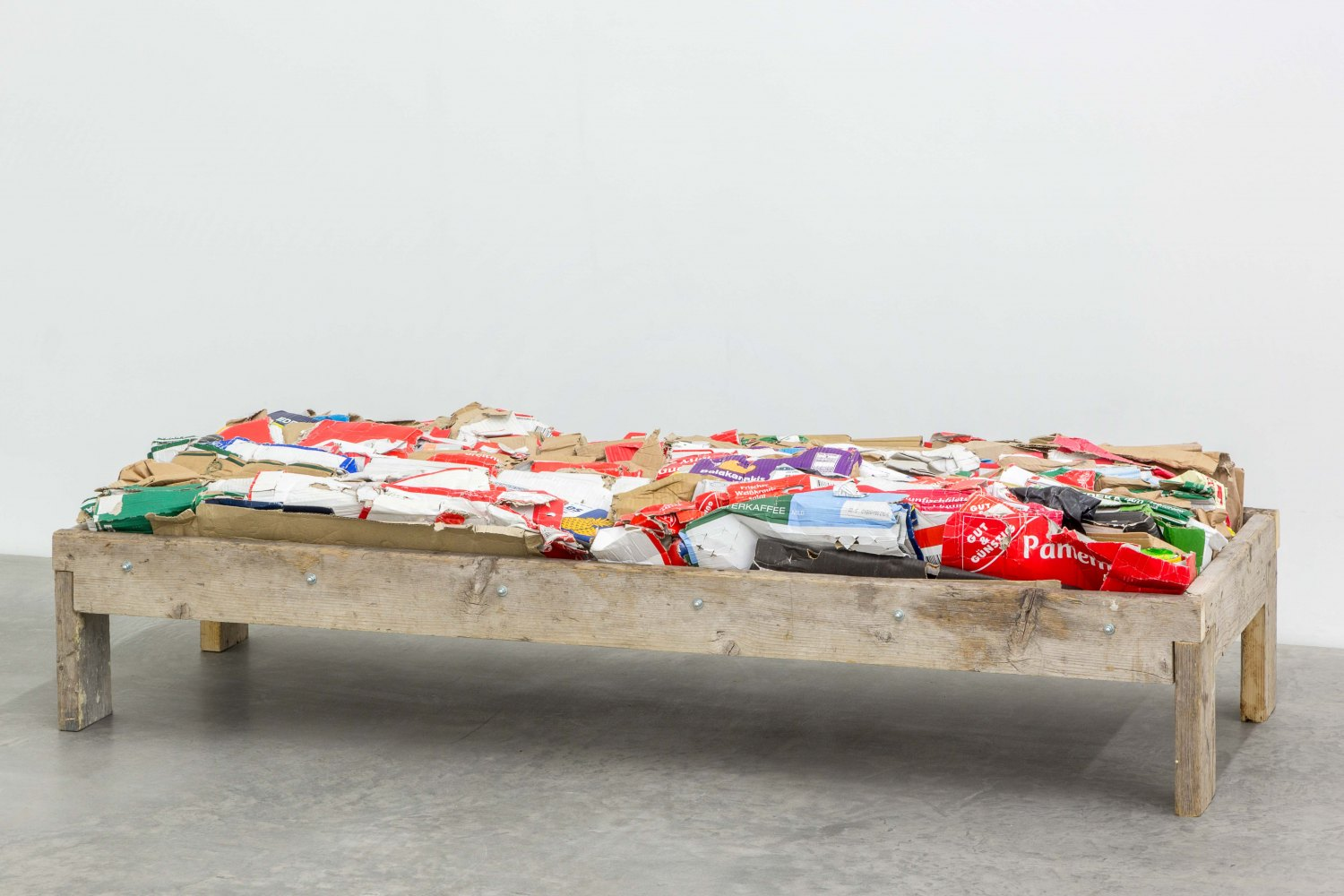 Klara Lidén Untitled (bench), 2014 Wood, cardboard and rubber, 47 × 80 × 200 cm