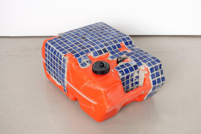 Matias Faldbakken Tiled Fuel Tank, 2015 Tiles on plastic gasoline tank, 23 × 37.5 × 51 cm