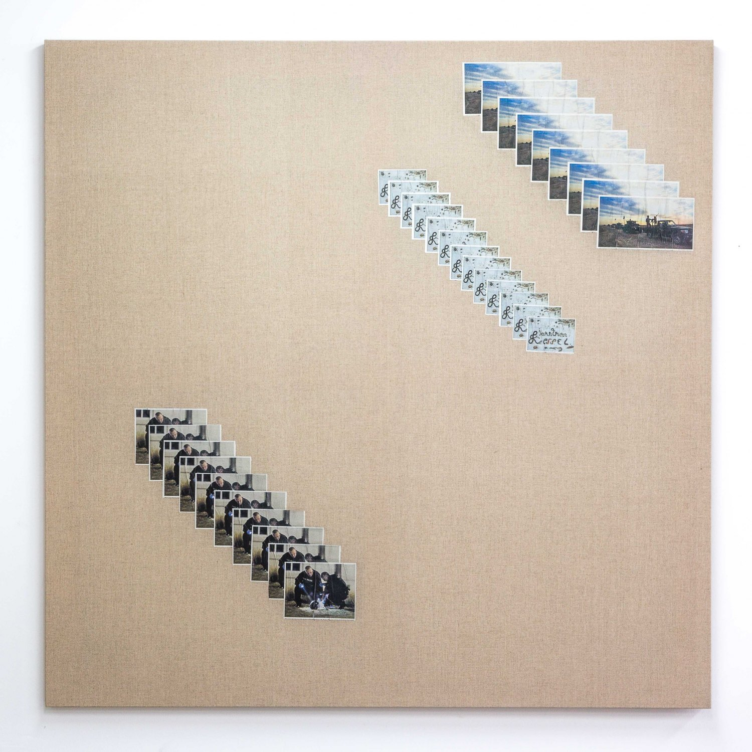 Matias Faldbakken Untitled (Canvas #100), 2015 Newspaper print on Belgian linen, wooden stretcher, 152.5 × 152.5 × 3.2 cm