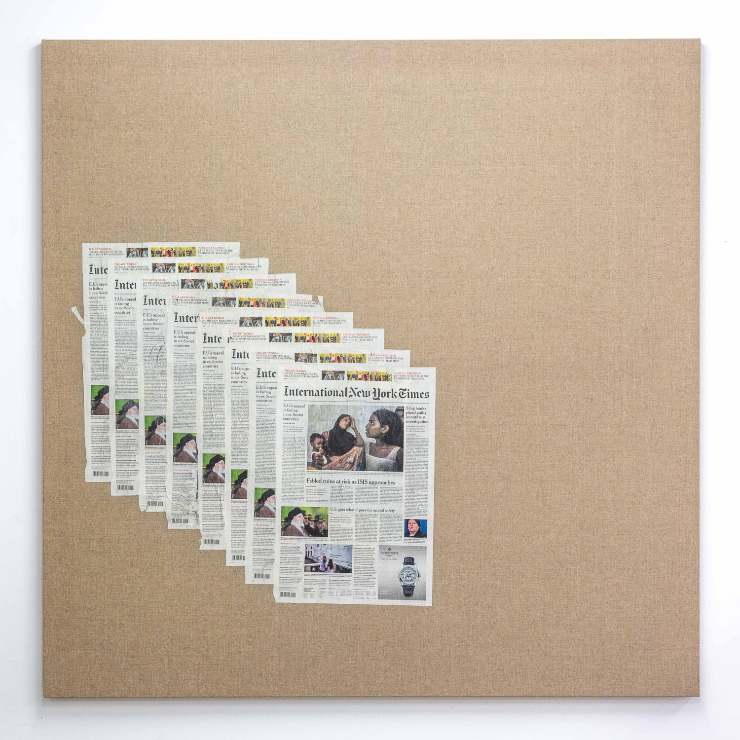 Matias Faldbakken Untitled (Canvas #105), 2015 Newspaper print on Belgian linen, wooden stretcher, 152.5 × 152.5 × 3.2 cm