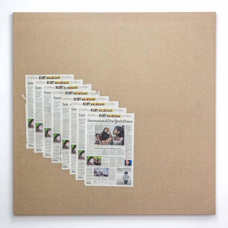 Matias Faldbakken Untitled (Canvas #105), 2015 Newspaper print on Belgian linen, wooden stretcher, 152.5 × 152.5 × 3.2 cm