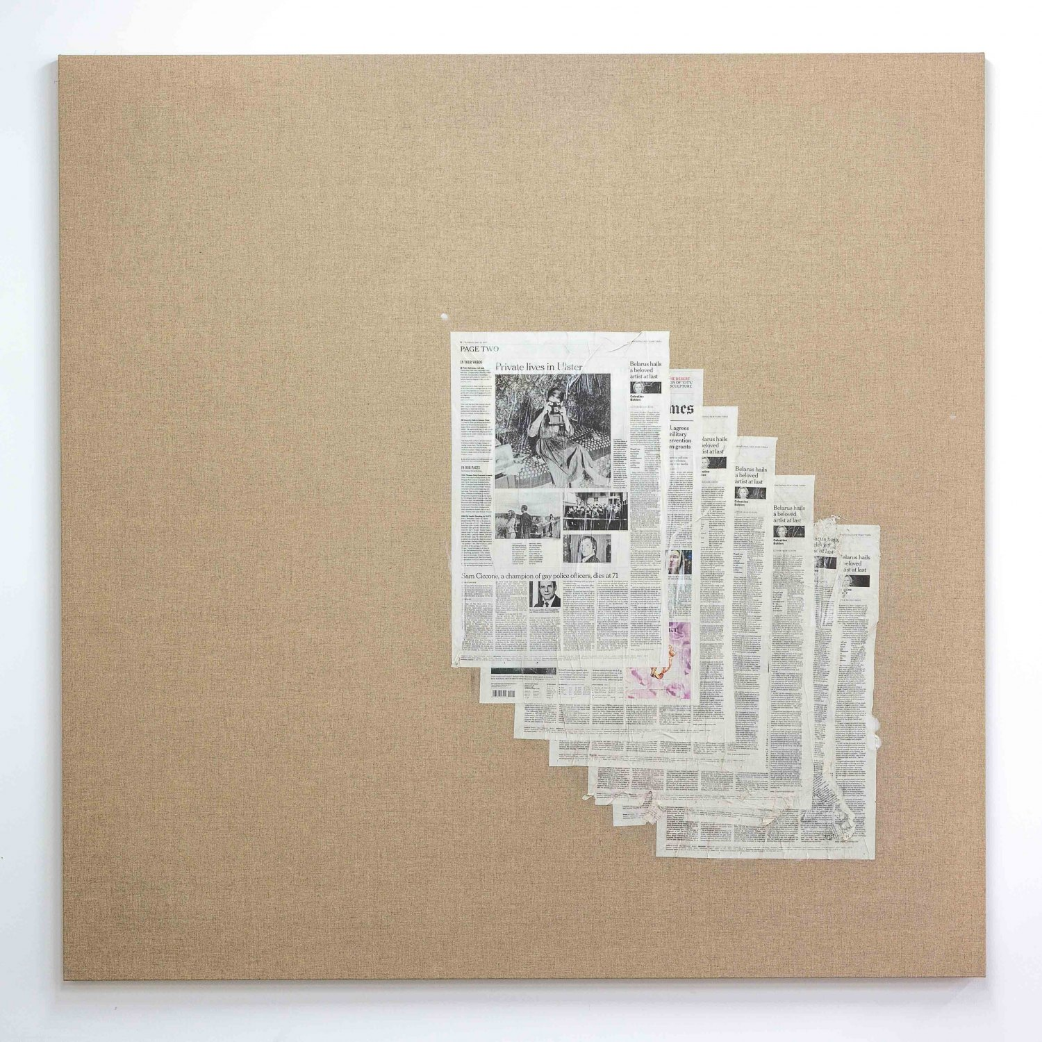 Matias Faldbakken Untitled (Canvas #106), 2015 Newspaper print on Belgian linen, wooden stretcher, 152.5 × 152.5 × 3.2 cm